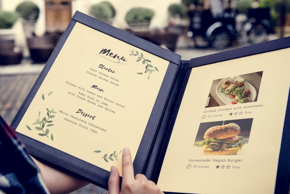 Horeca restaurant menu